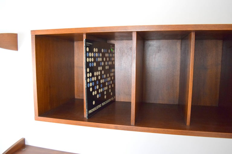 Midcentury Floating Walnut Wall Unit For Sale 1