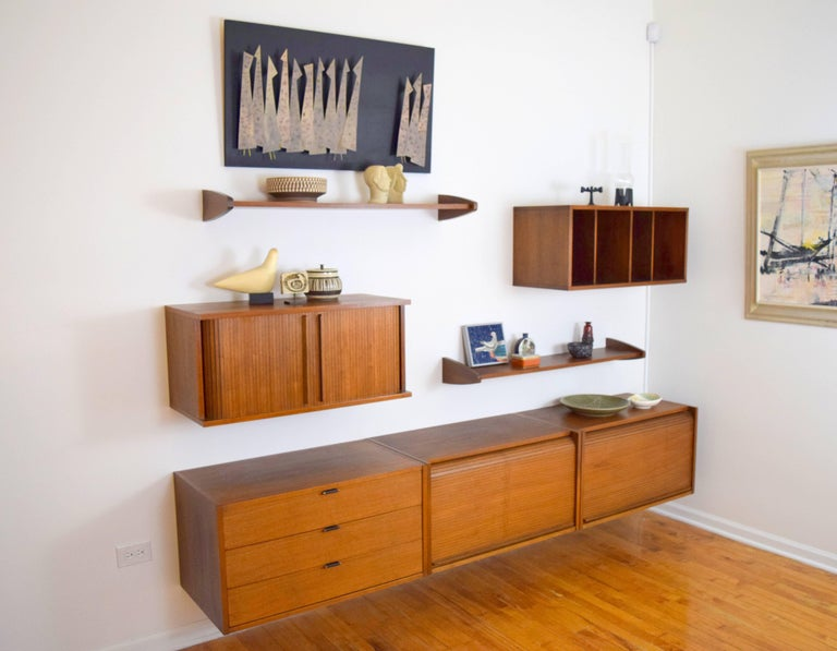 Midcentury Floating Walnut Wall Unit For Sale 3