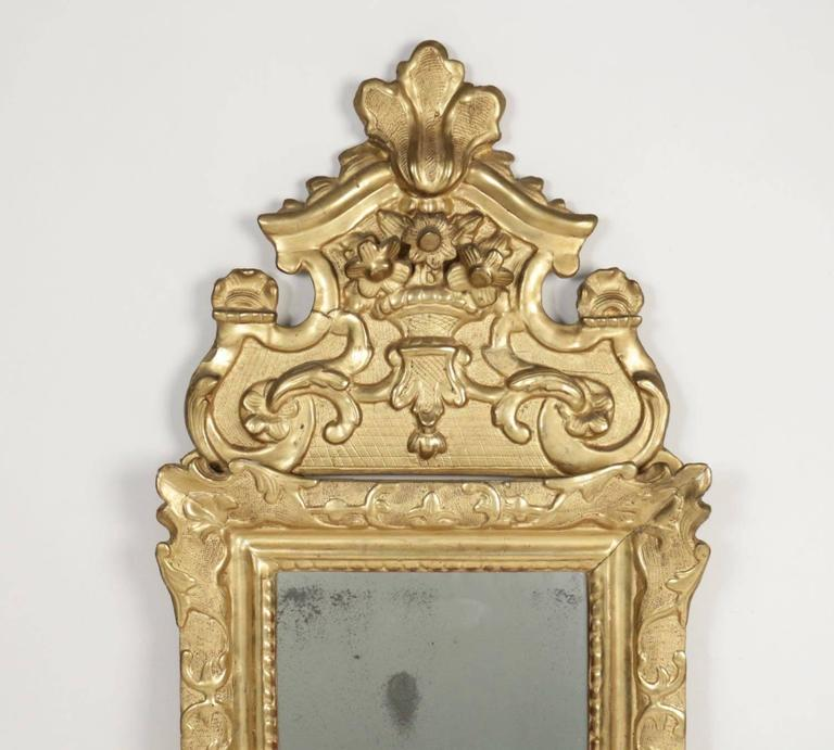 Régence French Regence Period, Hand-Carved Giltwood Front-Top Mirror For Sale