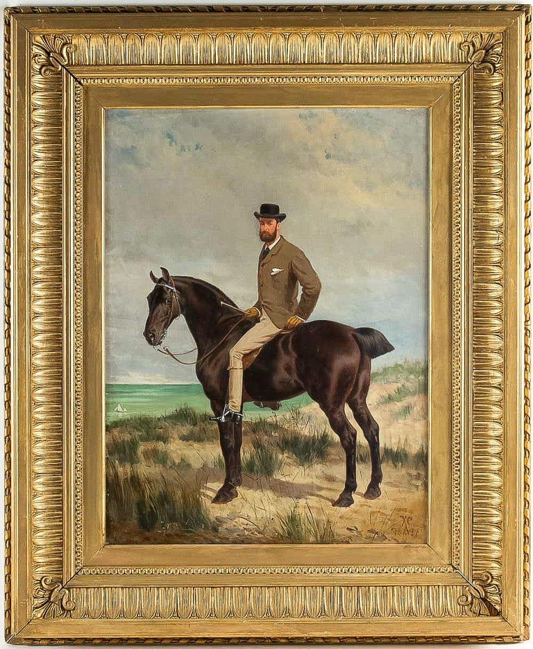 We are pleased to introduce you, an excellent and exciting oil on panel depicting an elegant horseman on horseback. Our painting monogrammed (ongoing research) and dated 1877 on the lower right.  Excellent original condition.  Dimensions