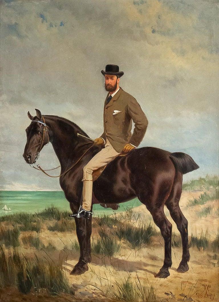 Belgian Belgium School Oil on Panel Horseman on Horseback Monogrammed and Dated 1877 For Sale