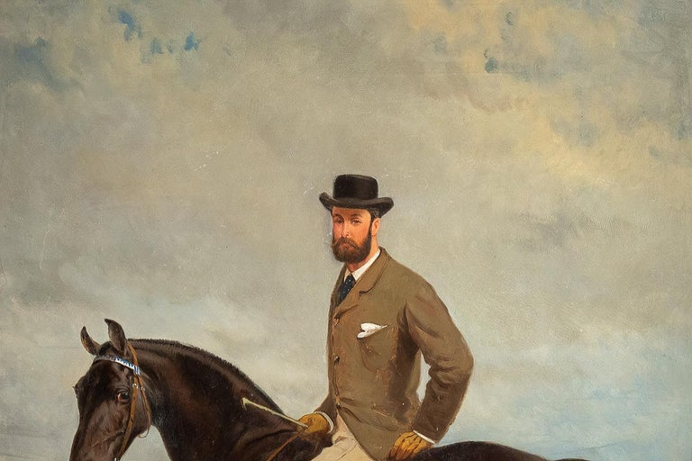 Oiled Belgium School Oil on Panel Horseman on Horseback Monogrammed and Dated 1877 For Sale