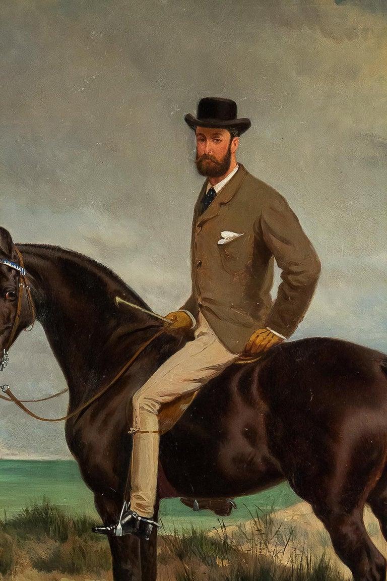 19th Century Belgium School Oil on Panel Horseman on Horseback Monogrammed and Dated 1877 For Sale