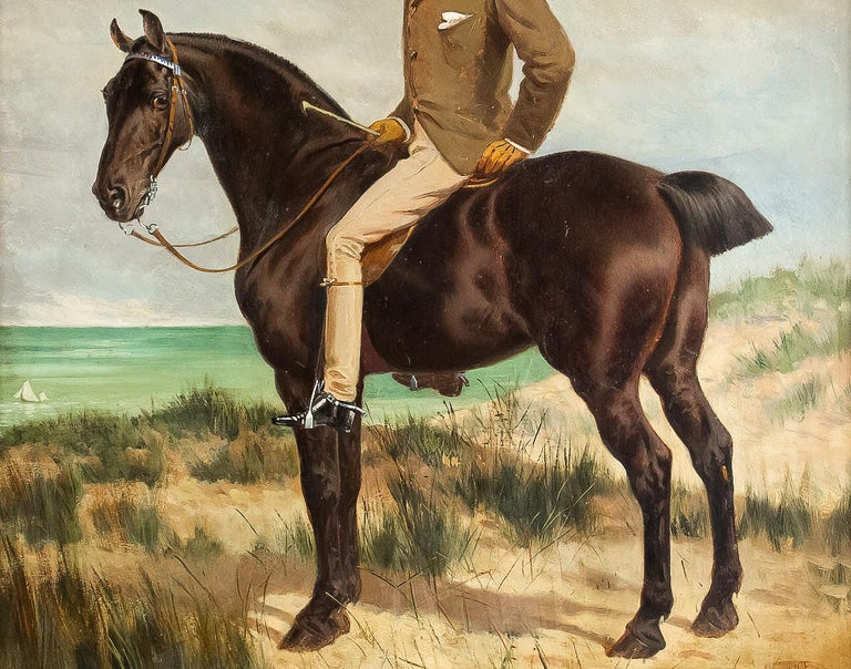 Wood Belgium School Oil on Panel Horseman on Horseback Monogrammed and Dated 1877 For Sale