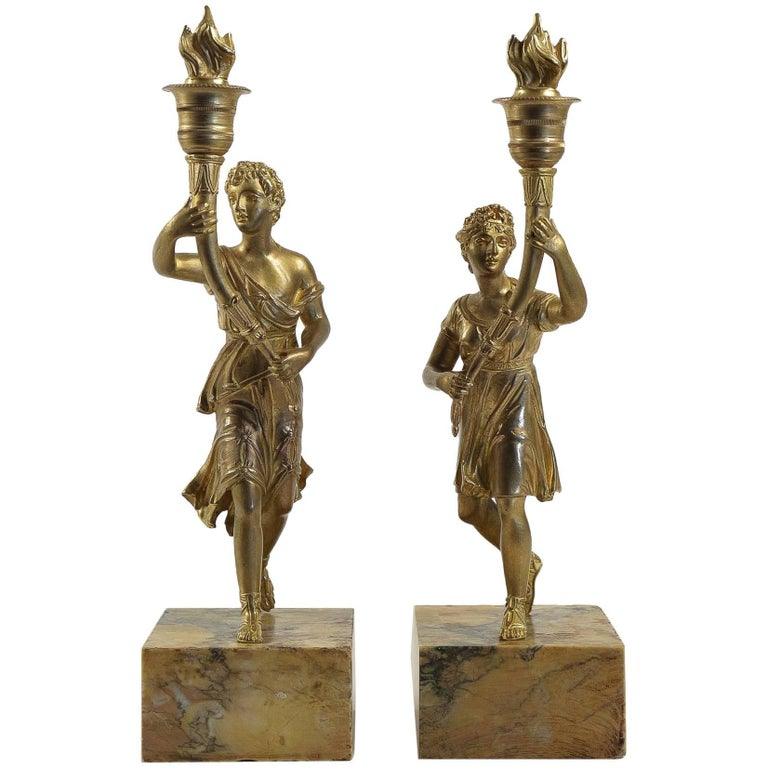 Mid-19th Century Pair of Candlesticks with Bronze Chiselled Characters