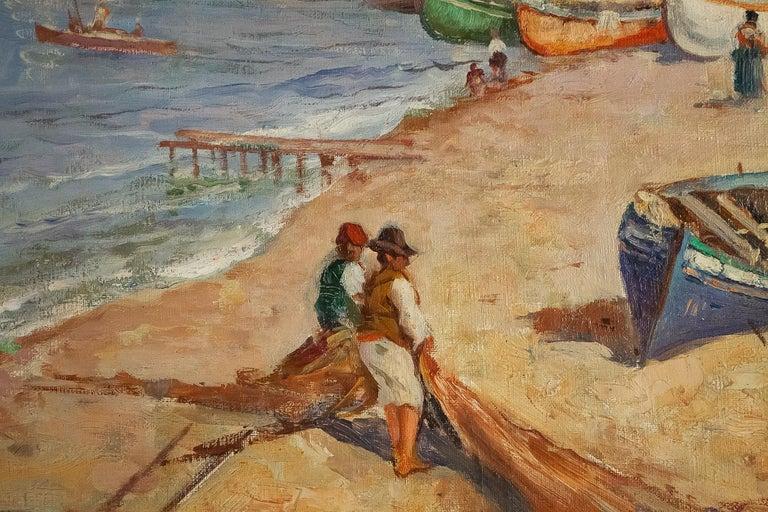 Balsamo Salvatore, Oil on Canvas Italian Marine Landscape, circa 1910 For Sale 1