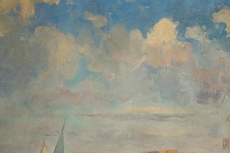 Balsamo Salvatore, Oil on Canvas Italian Marine Landscape, circa 1910 For Sale 3