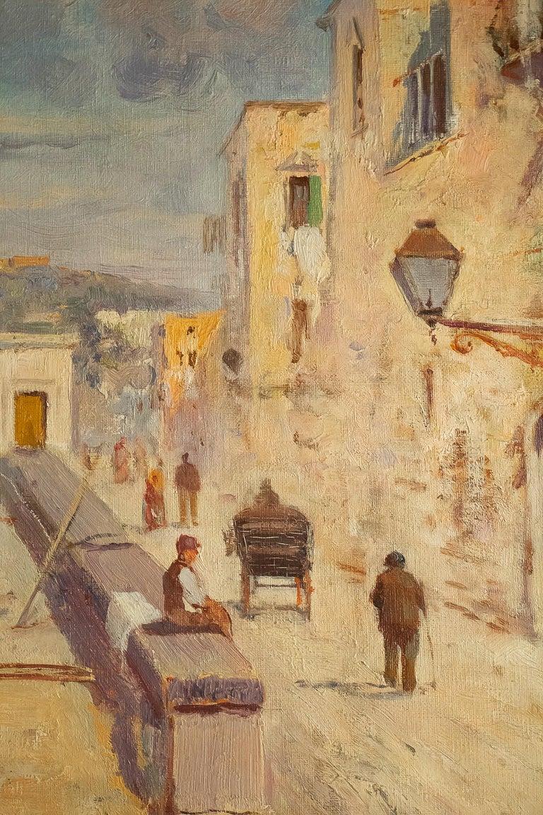 Balsamo Salvatore, Oil on Canvas Italian Marine Landscape, circa 1910 For Sale 4