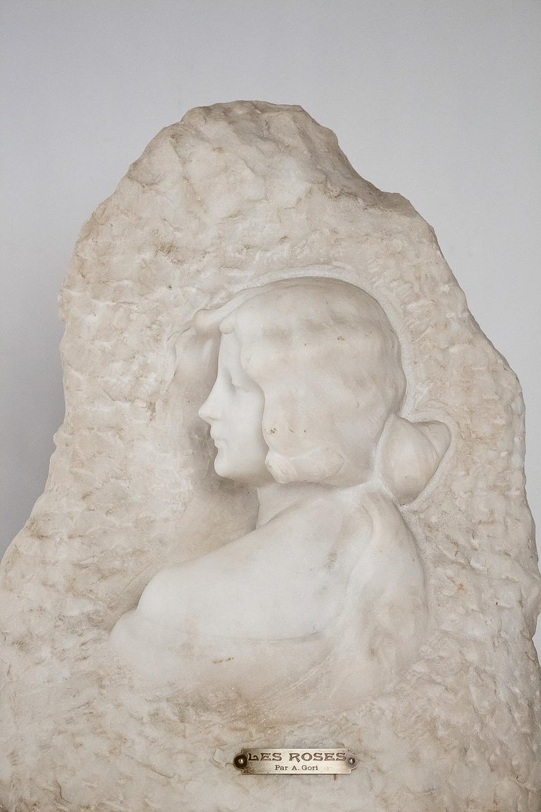Belle Époque Sign by Gory Affortunato White Carrara Marble Sculpture 'The Roses', circa 1900 For Sale