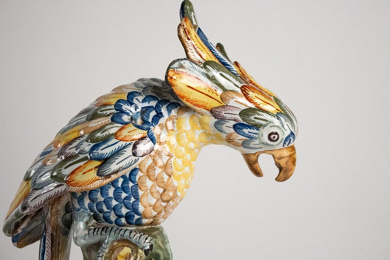 Polychromed Sign APK Dutch Late 18th Century or 19th Century Polychrome Delft Faience Parrot For Sale