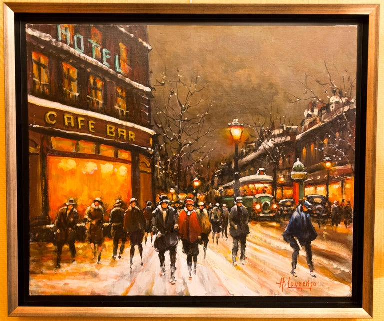 An interesting and decorative oil on canvas depicting The famous Parisian Grand-Boulevards in 1930-1940.  Armand Lourenco made early 20th century Paris views his specialty.   Gorgeous work of this famous painter circa 1970-1980.  Dimensions