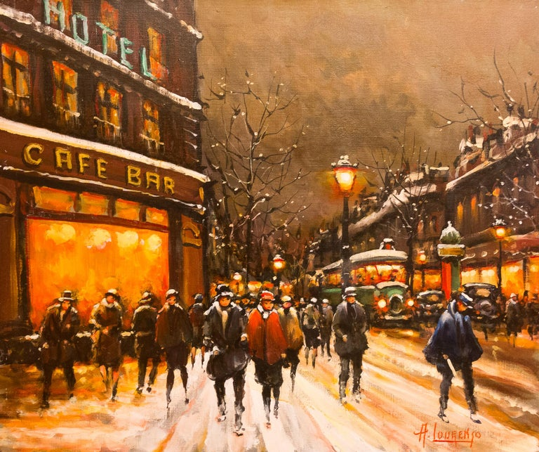 French Lourenco Armand Oil on Canvas the Parisian Grand-Boulevards For Sale