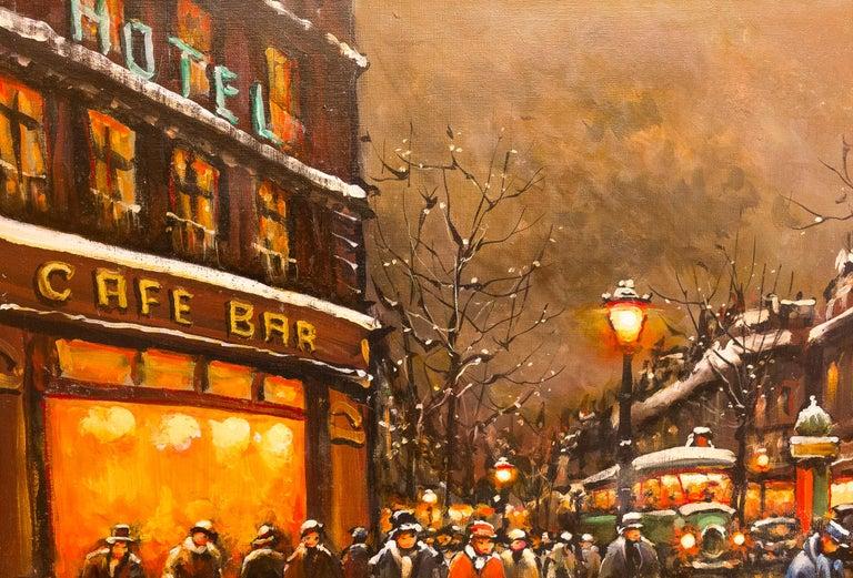 Oiled Lourenco Armand Oil on Canvas the Parisian Grand-Boulevards For Sale