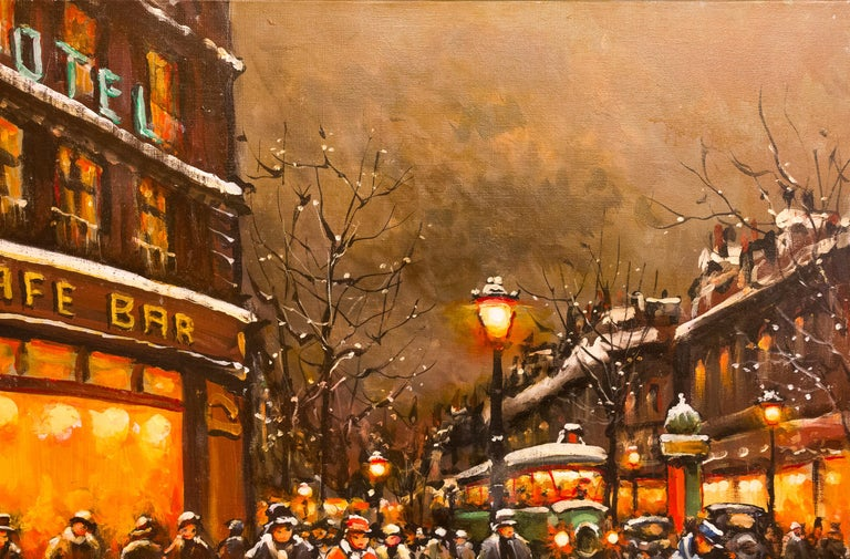 20th Century Lourenco Armand Oil on Canvas the Parisian Grand-Boulevards For Sale