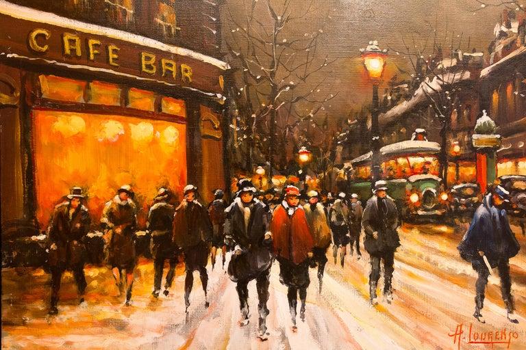 Lourenco Armand Oil on Canvas the Parisian Grand-Boulevards For Sale 1
