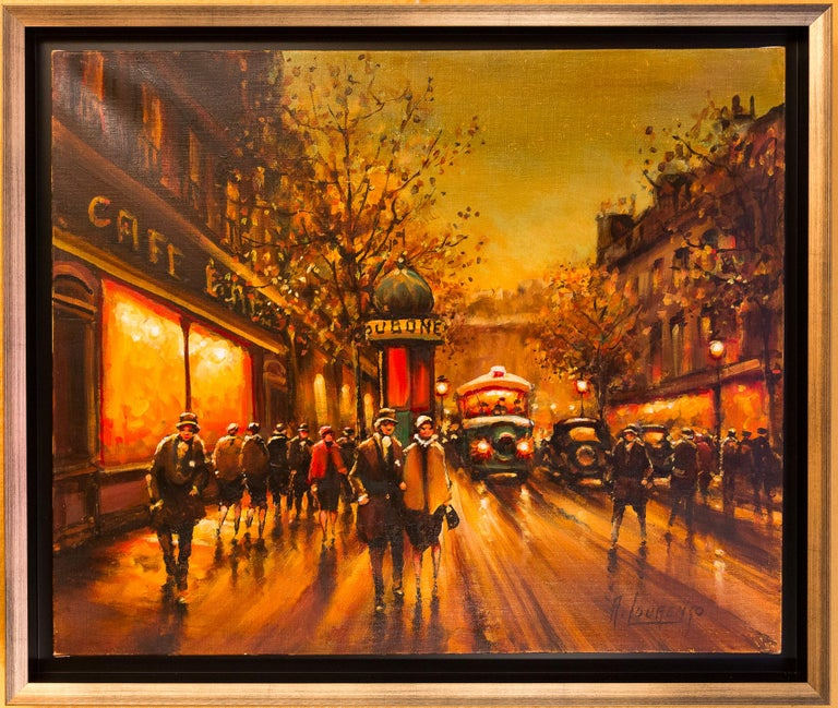 An interesting and decorative oil on canvas depicting The famous Parisian Boulevard des Capucines in 1930-1940.  Armand Lourenco made early 20th century Paris views his specialty.   Gorgeous work of this famous painter circa