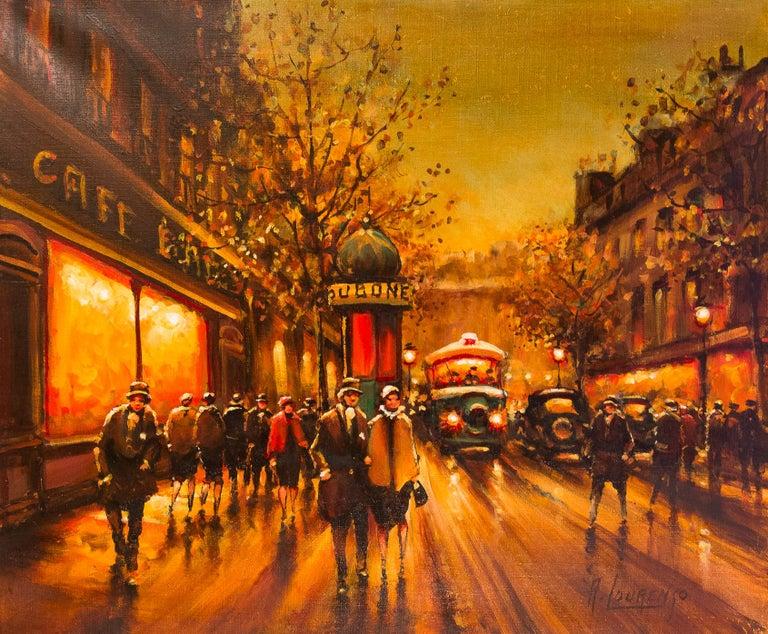 French Lourenco Armand Oil on Canvas The Parisian Boulevard des Capucines For Sale