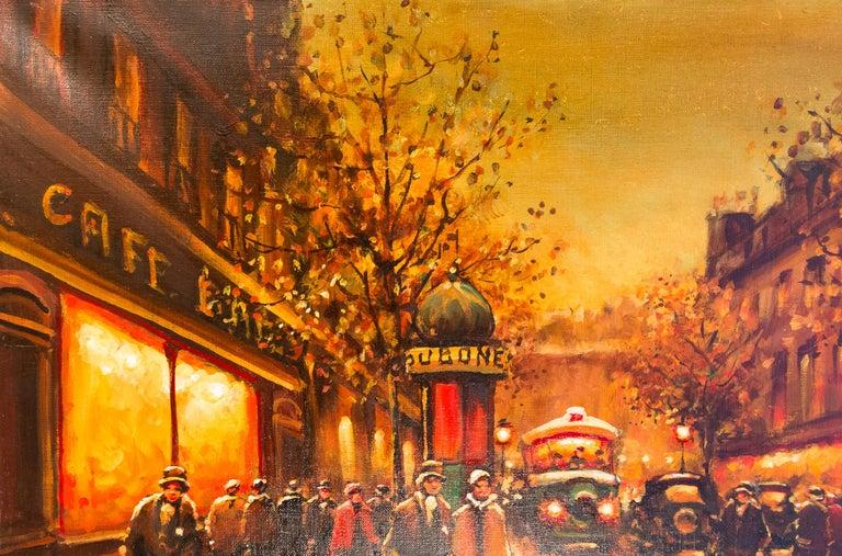 Oiled Lourenco Armand Oil on Canvas The Parisian Boulevard des Capucines For Sale
