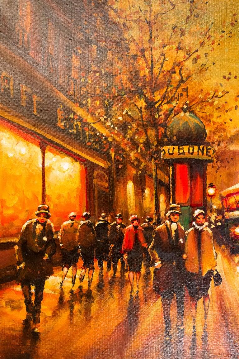 Lourenco Armand Oil on Canvas The Parisian Boulevard des Capucines In Excellent Condition For Sale In Saint Ouen, FR