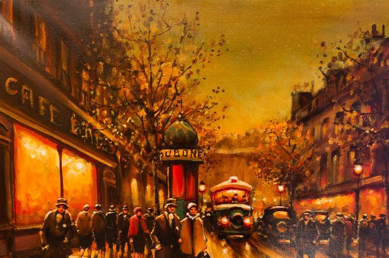 20th Century Lourenco Armand Oil on Canvas The Parisian Boulevard des Capucines For Sale
