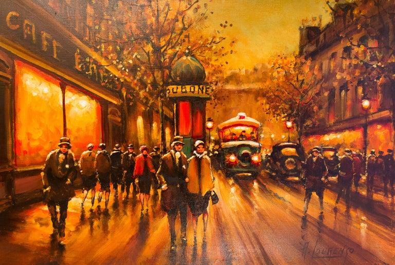Lourenco Armand Oil on Canvas The Parisian Boulevard des Capucines For Sale 1