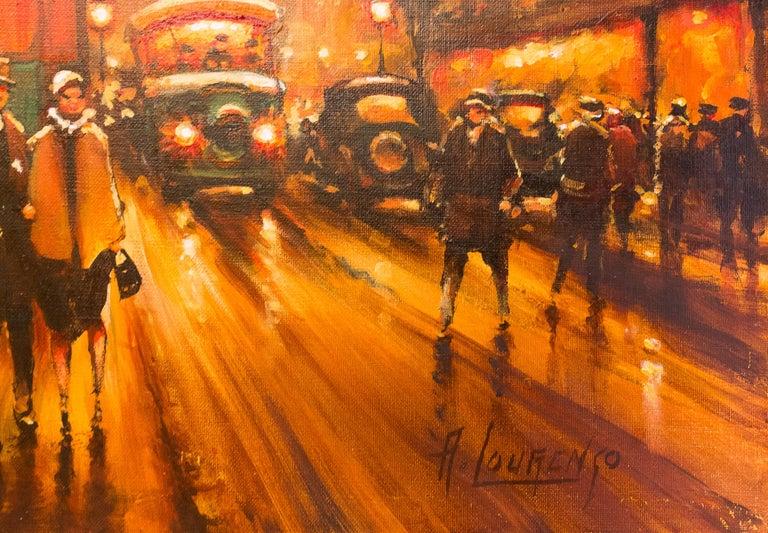 Lourenco Armand Oil on Canvas The Parisian Boulevard des Capucines For Sale 2