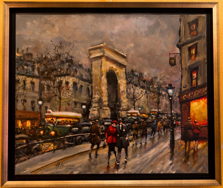 An interesting and decorative oil on canvas depicting a View of Porte Saint-Denis in Paris in 1930-1940.