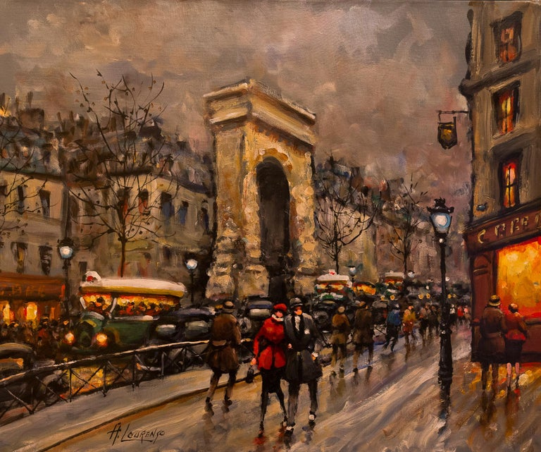French Lourenco Armand Oil on Canvas Paris View La Porte Saint-Denis For Sale