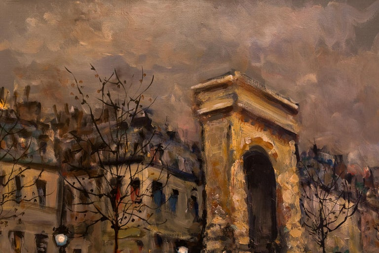 Oiled Lourenco Armand Oil on Canvas Paris View La Porte Saint-Denis For Sale