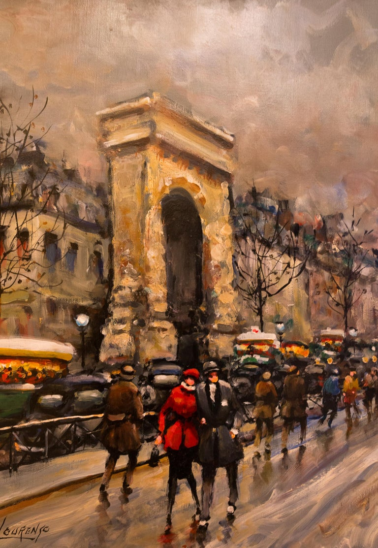 Lourenco Armand Oil on Canvas Paris View La Porte Saint-Denis In Good Condition For Sale In Saint Ouen, FR