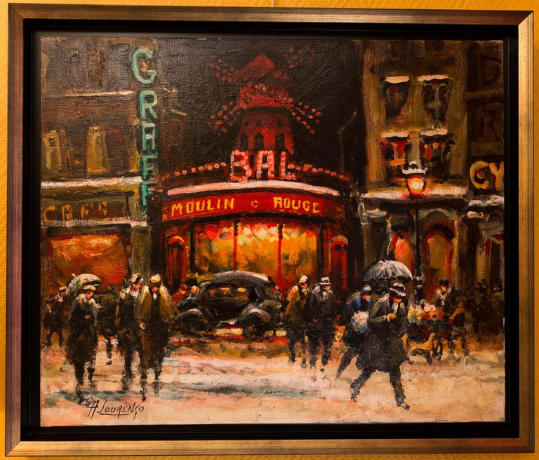 An interesting and decorative oil on canvas depicting a View of The Moulin Rouge of Paris in 1930-1940.