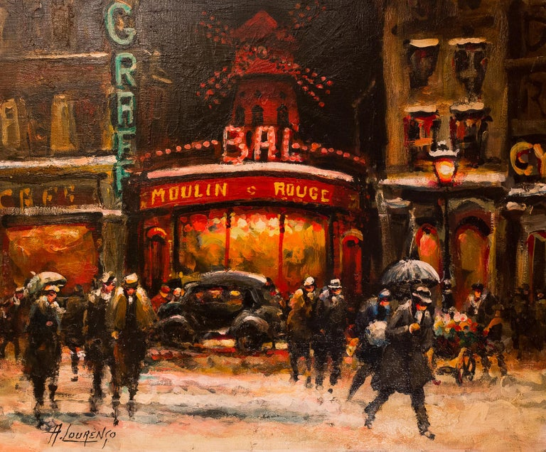 French Lourenco Armand Oil on Canvas Paris View of the Moulin Rouge For Sale