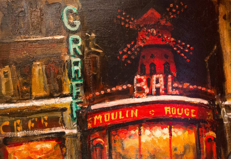 Oiled Lourenco Armand Oil on Canvas Paris View of the Moulin Rouge For Sale