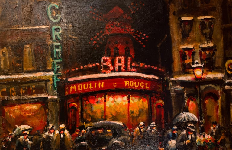Lourenco Armand Oil on Canvas Paris View of the Moulin Rouge In Good Condition For Sale In Saint Ouen, FR