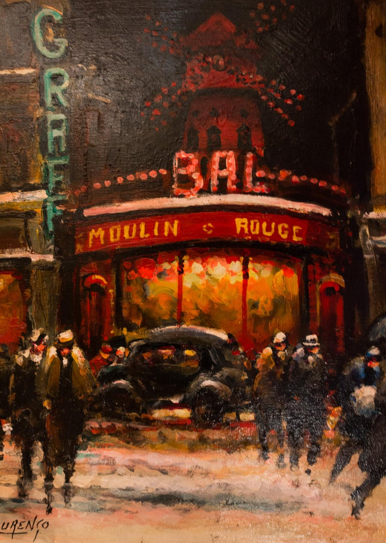 20th Century Lourenco Armand Oil on Canvas Paris View of the Moulin Rouge For Sale