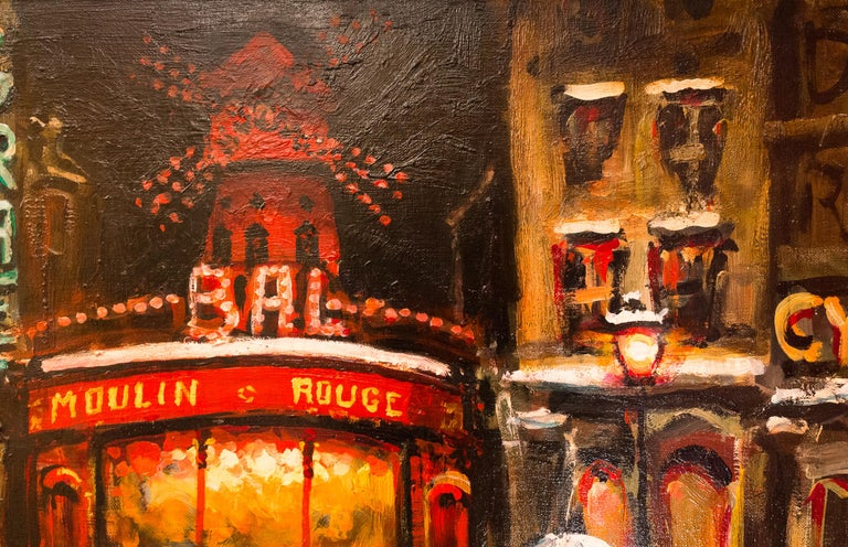 Lourenco Armand Oil on Canvas Paris View of the Moulin Rouge For Sale 1