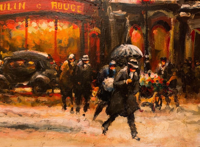 Lourenco Armand Oil on Canvas Paris View of the Moulin Rouge For Sale 2
