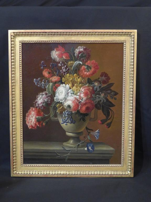 flowers on a ledge oil on canvas 19th century french school flowers on a marble