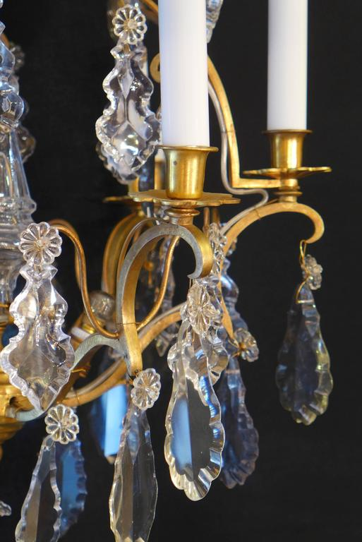 French Maison Baccarat Louis Xv Style Ormolu And Crystal