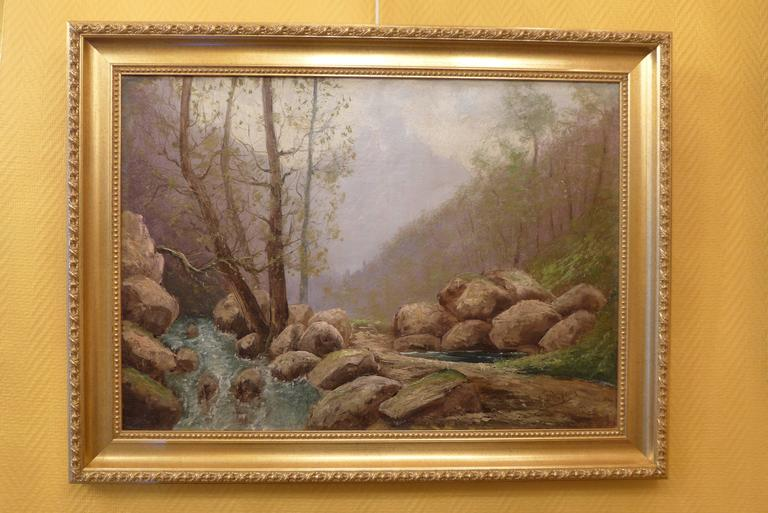 French Mountain stream, oil on canvas signed on the lower right side by Godchaux, circa 1900.  Emile Godchaux: (Bordeaux 1860-1930), was a French landscape painter.  It appears to be a close relative of Alfred Godchaux (landscape painter) and Roger