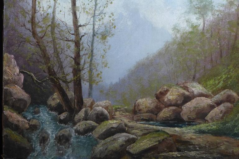 Oiled By Godchaux Oil on Canvas French Mountain Circa 1900 For Sale