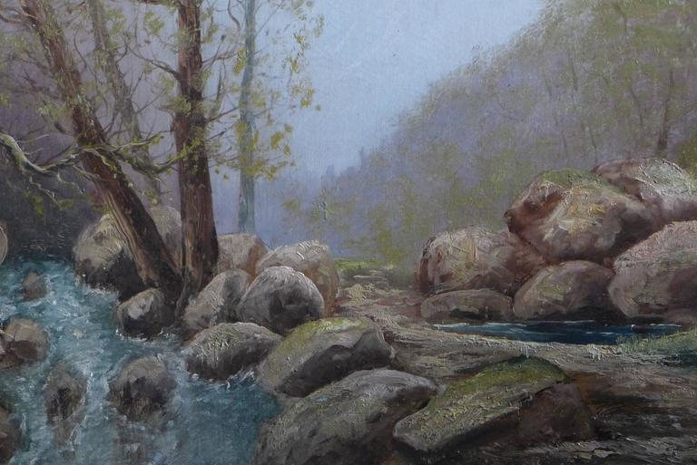 By Godchaux Oil on Canvas French Mountain Circa 1900 In Good Condition For Sale In Saint Ouen, FR