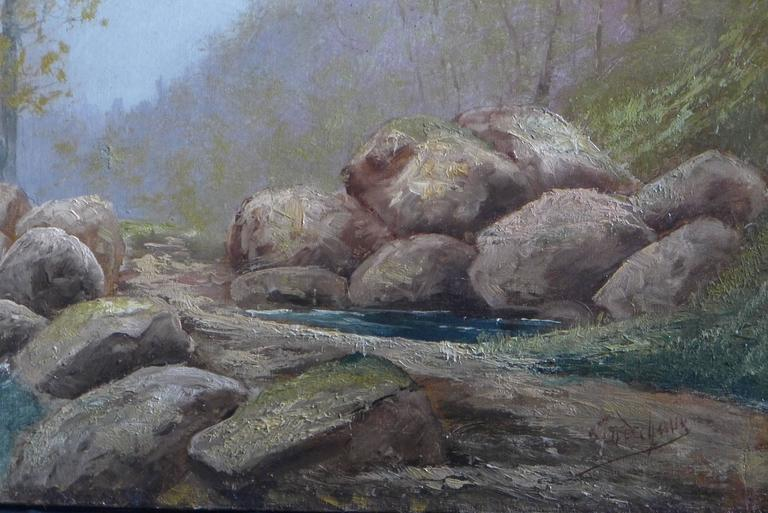 20th Century By Godchaux Oil on Canvas French Mountain Circa 1900 For Sale