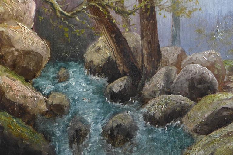 By Godchaux Oil on Canvas French Mountain Circa 1900 For Sale 1
