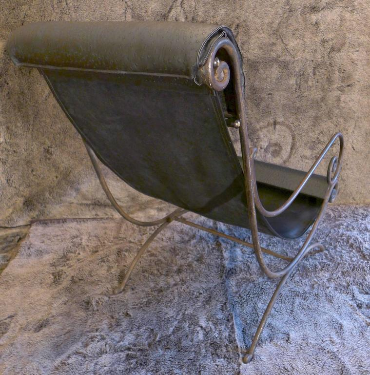 Mid-20th Century French Iron Vintage Chaise Longue and Leather, circa 1960s For Sale 2