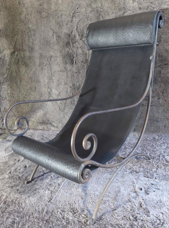 Mid-20th Century French Iron Vintage Chaise Longue and Leather, circa 1960s For Sale 5