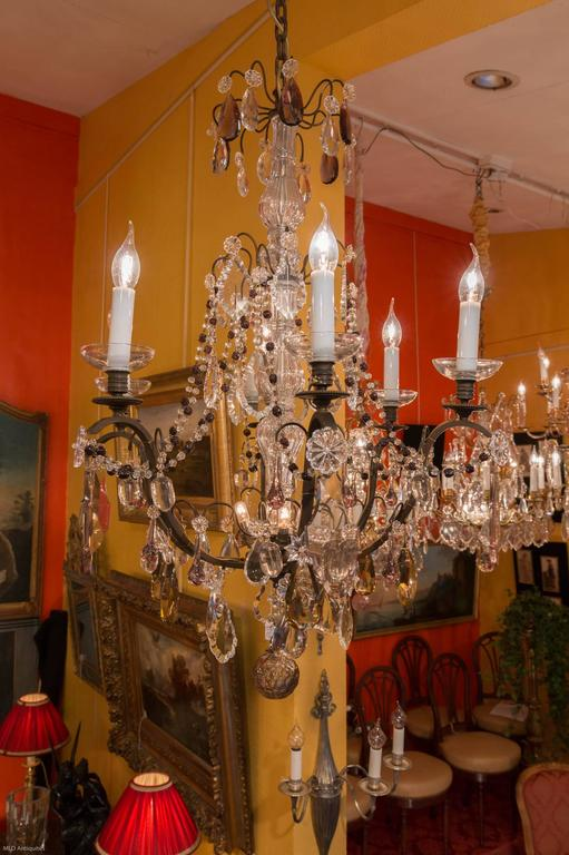 French Louis Xvi Style Patinated Bronze And Crystal