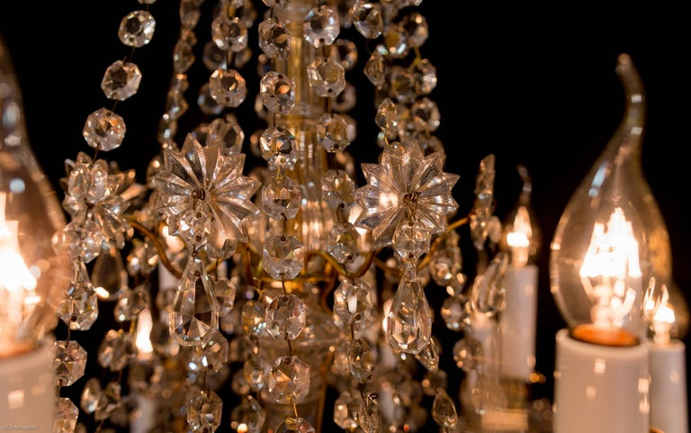 Late 19th Century Ormolu And Crystal Chandelier Sign By