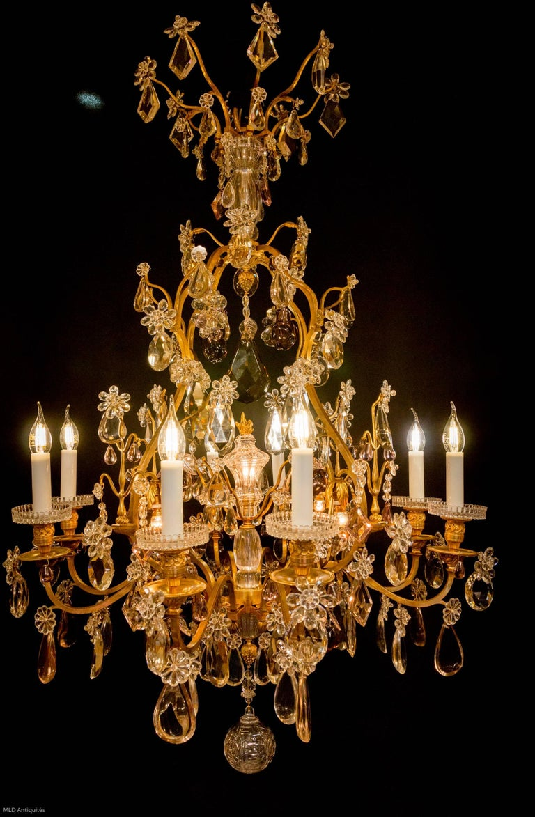 Amazing Chandelier And Pair Of Sconces By Cristalleries