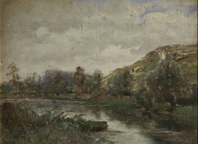A lovely Barbizon School, oil on cardboard depicting a river landscape, in a beautiful and ornamental giltwood frame.   Dimensions unframed W 20.07 inches, H 14.96 inches. Dimensions with frame W 25.59 inches, H 20.47 inches.  Our picture is a part